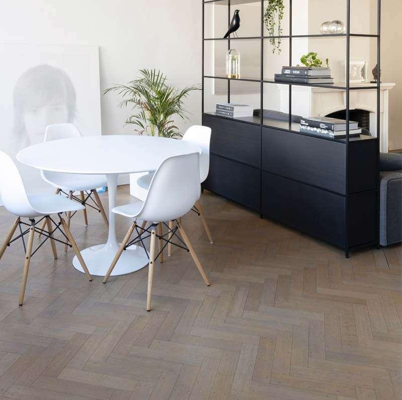 Dar Grey Engineered Herringbone Parquet Wood Floor